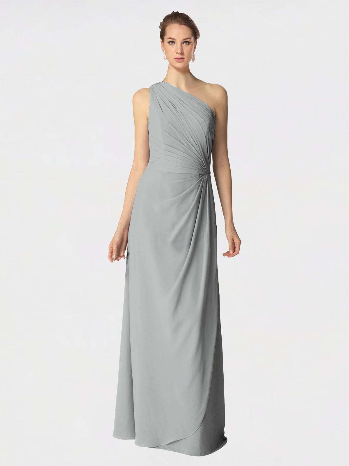 Long A-Line One Shoulder Sleeveless Silver Chiffon Bridesmaid Dress Aurora