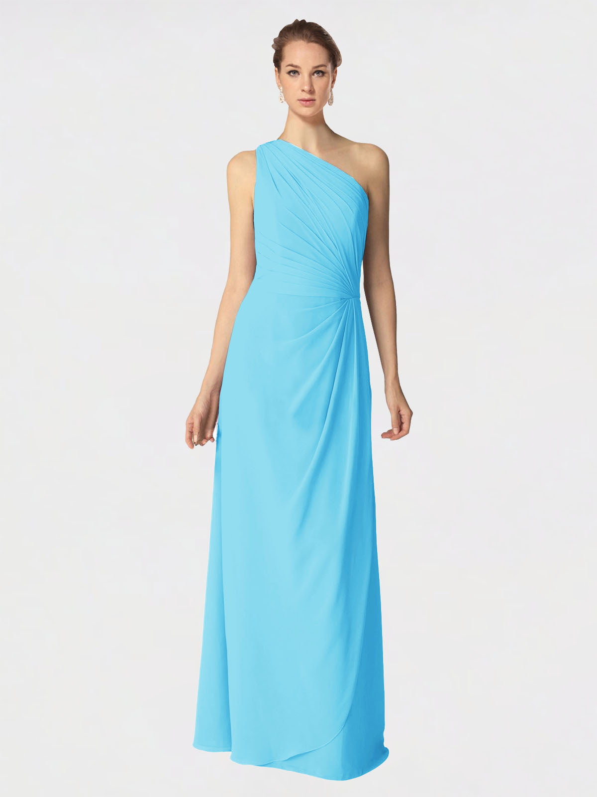 Long A-Line One Shoulder Sleeveless Sky Blue Chiffon Bridesmaid Dress Aurora