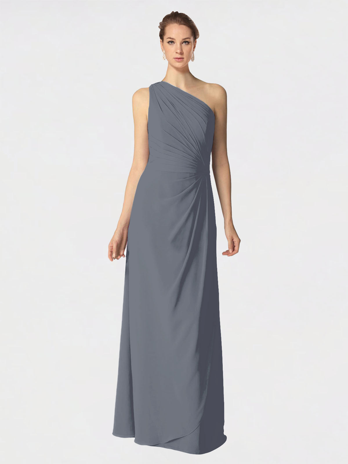 Long A-Line One Shoulder Sleeveless Slate Grey Chiffon Bridesmaid Dress Aurora