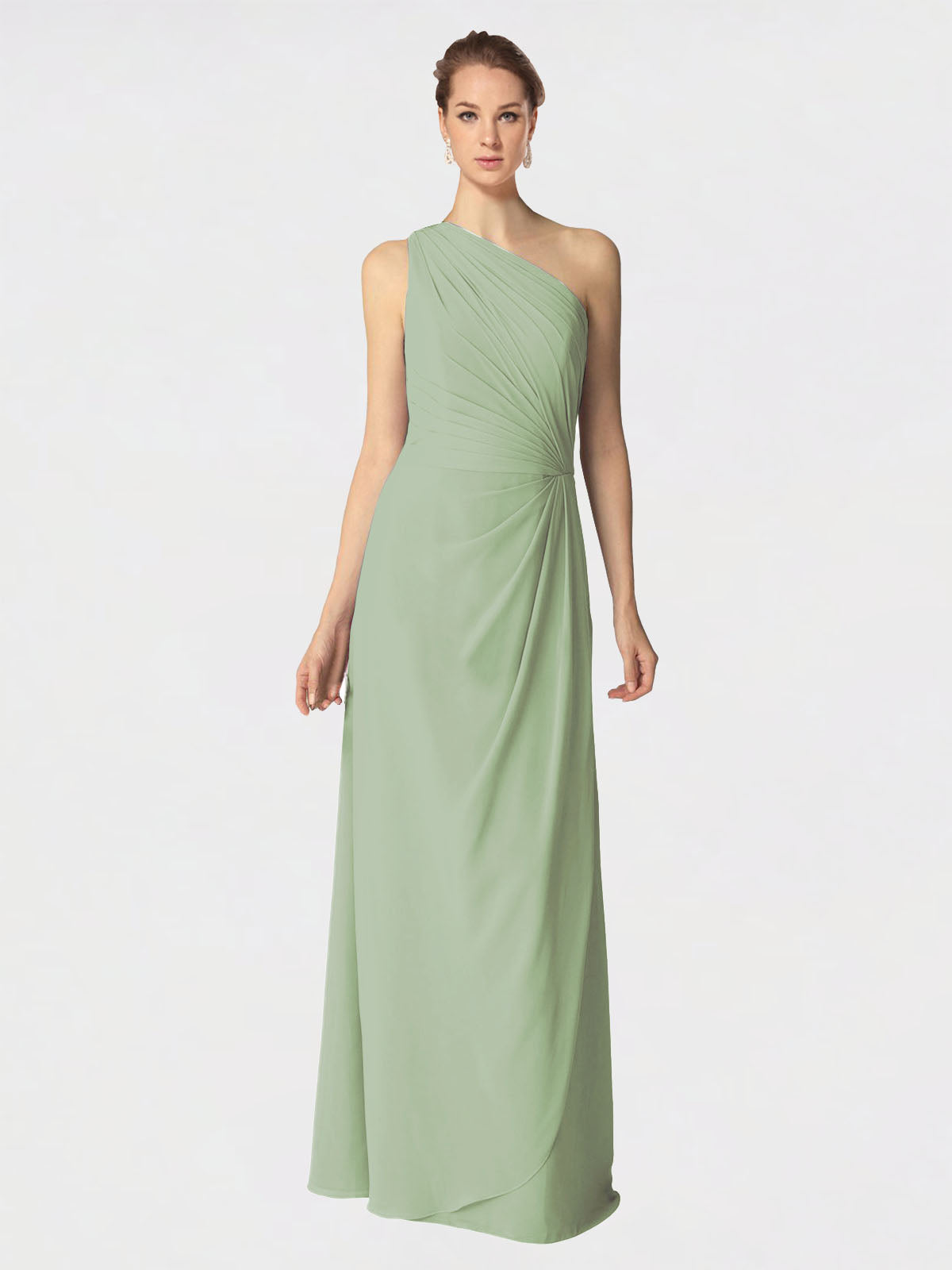 Long A-Line One Shoulder Sleeveless Smoke Green Chiffon Bridesmaid Dress Aurora