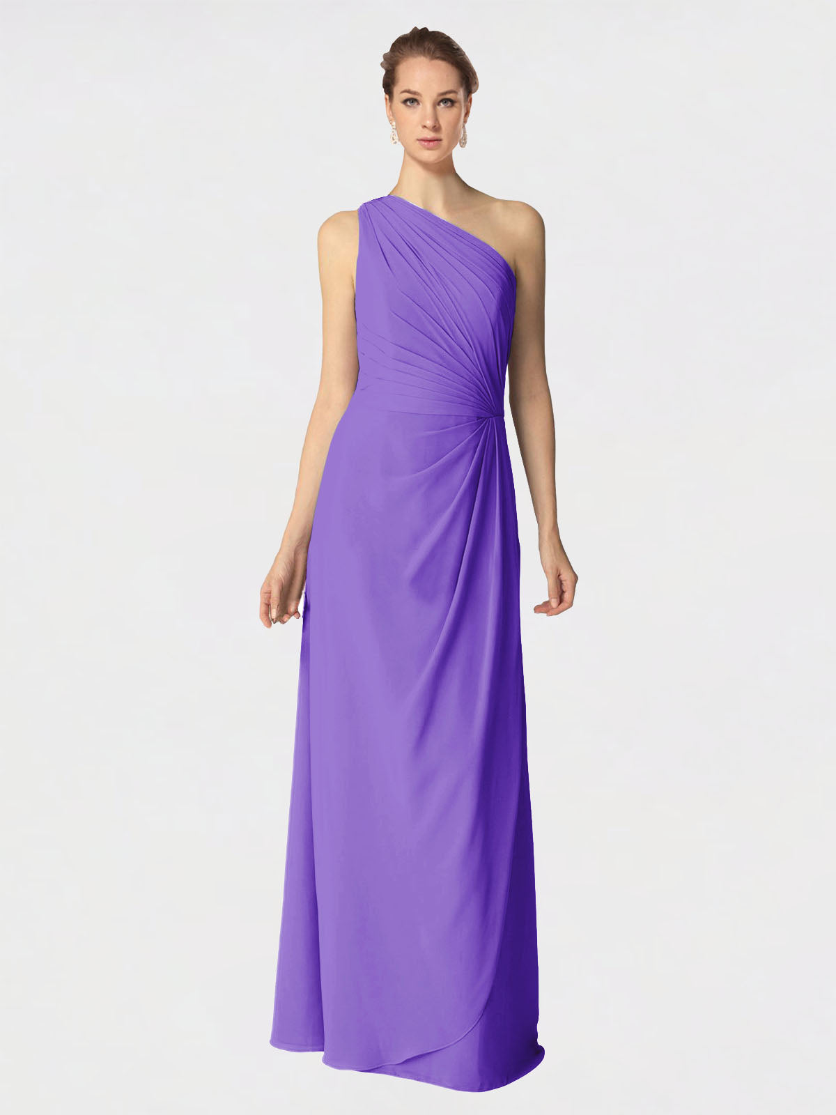 Long A-Line One Shoulder Sleeveless Tahiti Chiffon Bridesmaid Dress Aurora