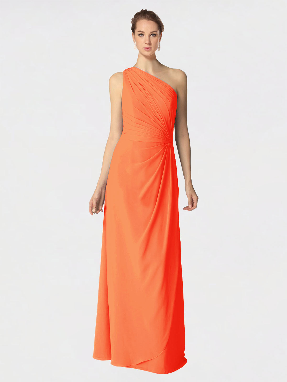 Long A-Line One Shoulder Sleeveless Tangerine Tango Chiffon Bridesmaid Dress Aurora