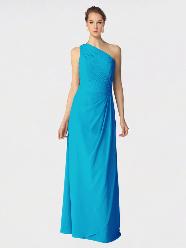 Long A-Line One Shoulder Sleeveless Turquoise Chiffon Bridesmaid Dress Aurora