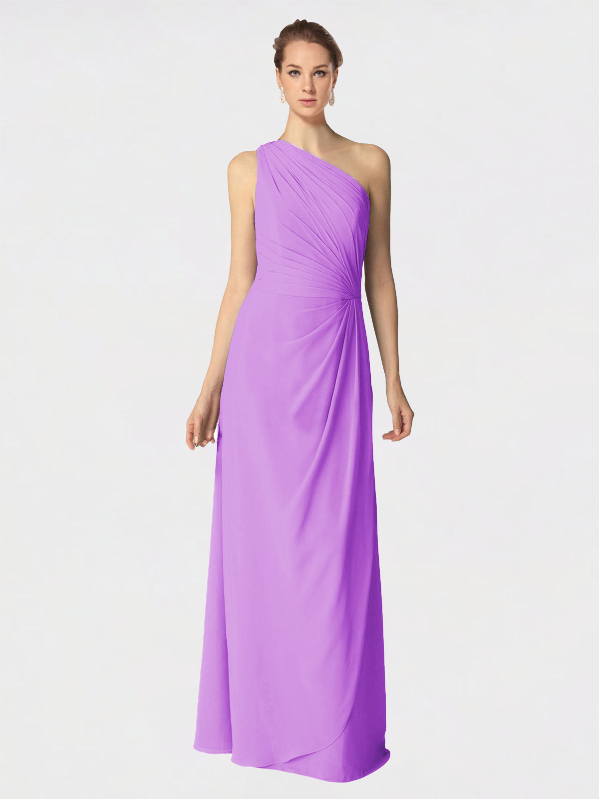 Long A-Line One Shoulder Sleeveless Violet Chiffon Bridesmaid Dress Aurora