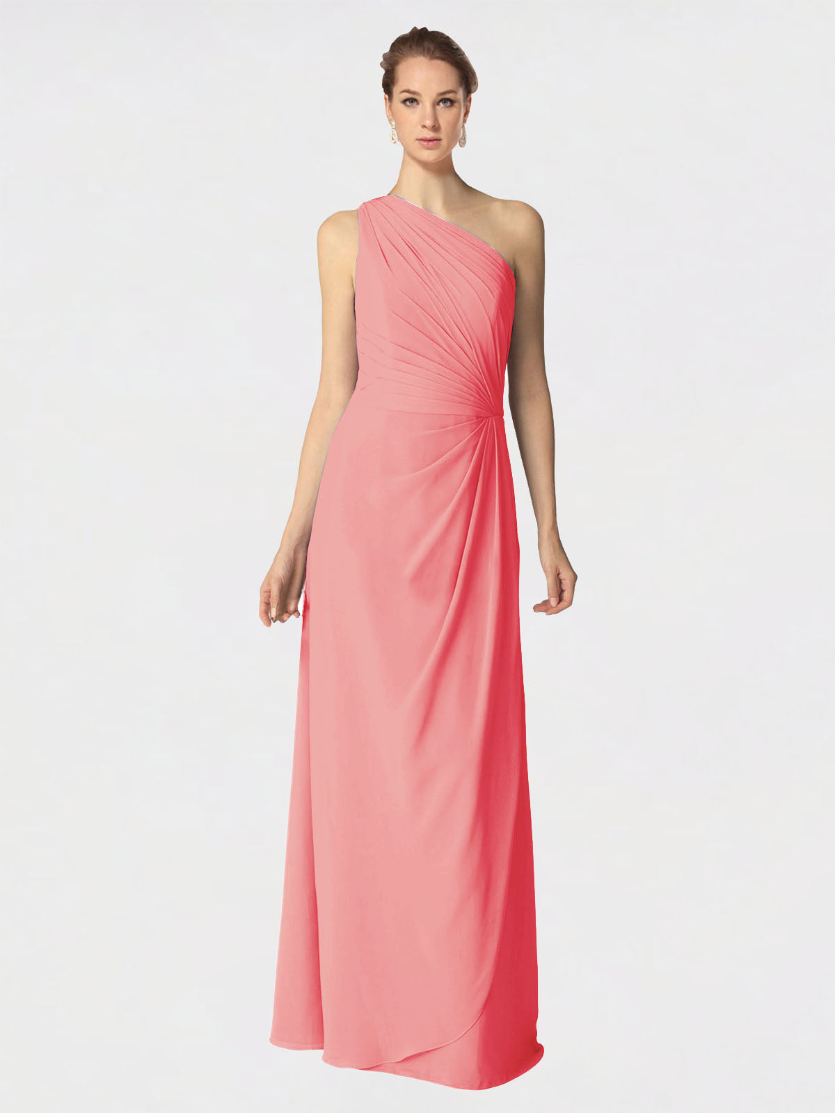 Long A-Line One Shoulder Sleeveless Watermelon Chiffon Bridesmaid Dress Aurora