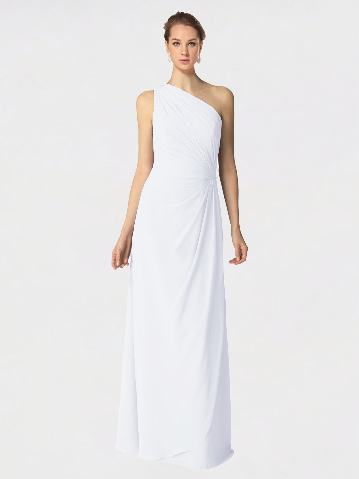 Long A-Line One Shoulder Sleeveless White Chiffon Bridesmaid Dress Aurora