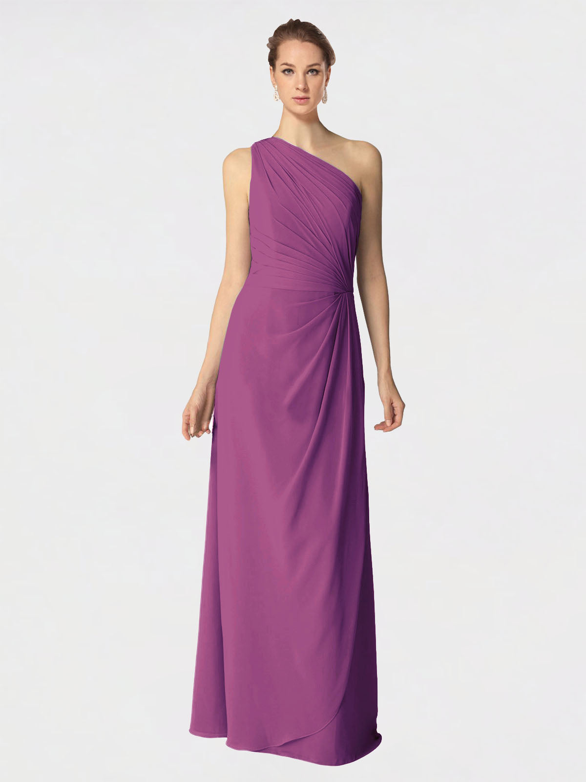 Long A-Line One Shoulder Sleeveless Wild Berry Chiffon Bridesmaid Dress Aurora