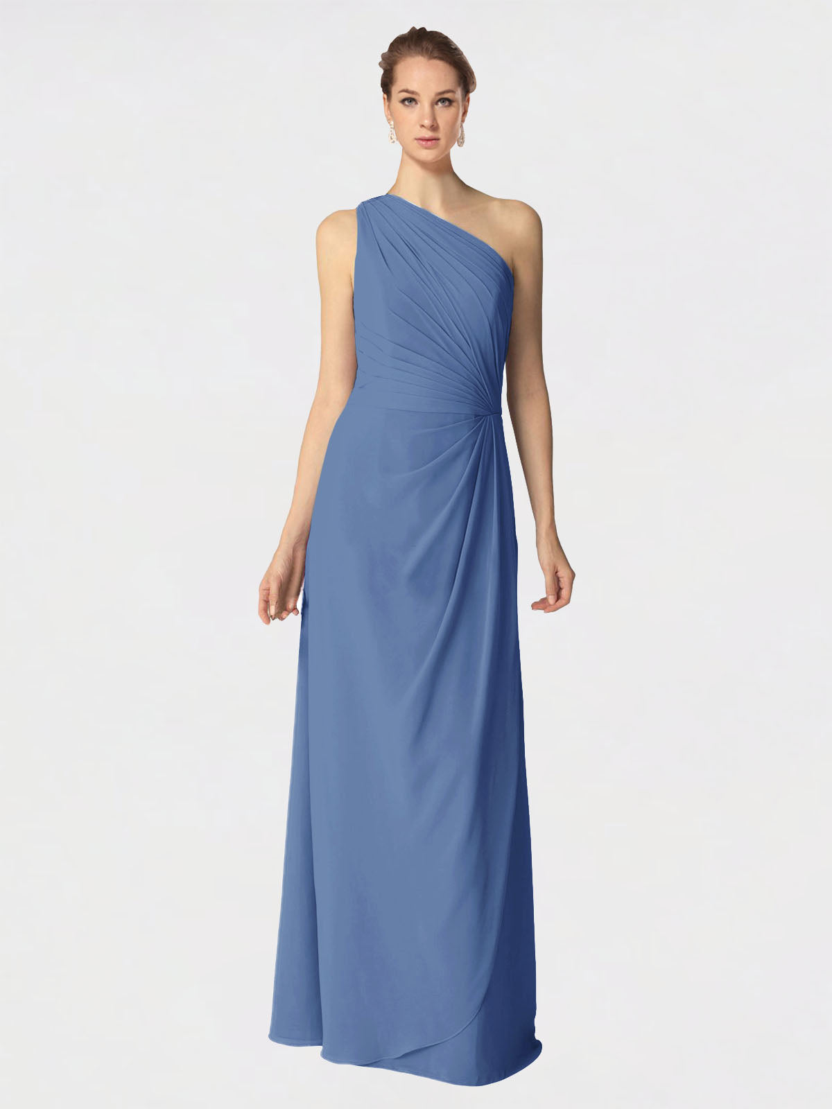 Long A-Line One Shoulder Sleeveless Windsor Blue Chiffon Bridesmaid Dress Aurora