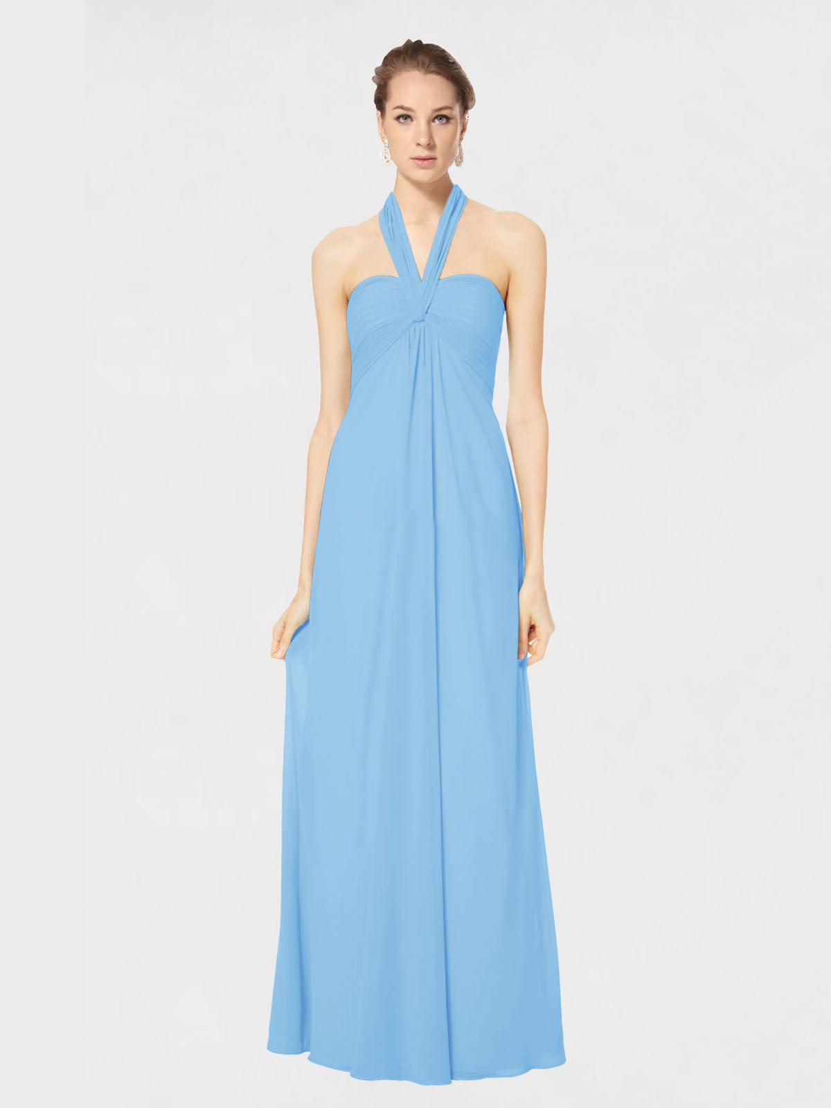Long Empire Halter Sleeveless Periwinkle Chiffon Bridesmaid Dress Kennedy