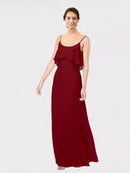 Long Sheath Scoop  Sleeveless Burgundy Chiffon Bridesmaid Dress Vivian