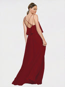 Long A-Line Spaghetti Straps Sleeveless Burgundy Chiffon Bridesmaid Dress Mackenzie
