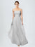 Long A-Line Strapless Floor Length Sleeveless Silver Tulle Bridesmaid Dress Brielle