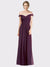 Long A-Line Off the Shoulder Sweetheart Sleeveless Grape Chiffon Lace Bridesmaid Dresses
