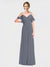 Long A-Line Spaghetti Straps, Off The Shoulder, V-Neck Sleeveless Slate Grey Chiffon Bridesmaid Dress Danica