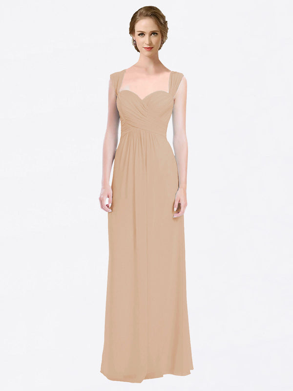 Long A-Line Sweetheart Cap Sleeves Champagne Chiffon Bridesmaid Dress Patricia