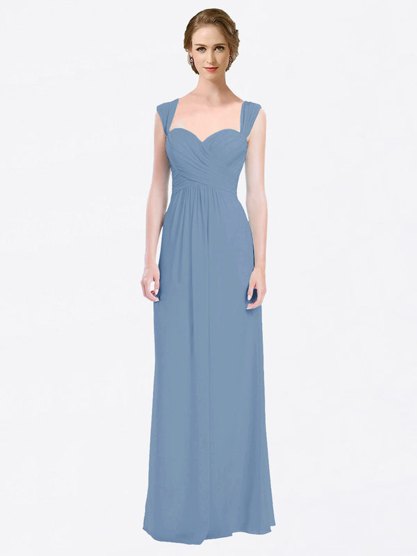 Long A-Line Sweetheart Cap Sleeves Dusty Blue Chiffon Bridesmaid Dress Patricia
