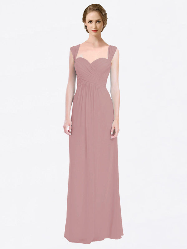 Long A-Line Sweetheart Cap Sleeves Dusty Pink Chiffon Bridesmaid Dress Patricia