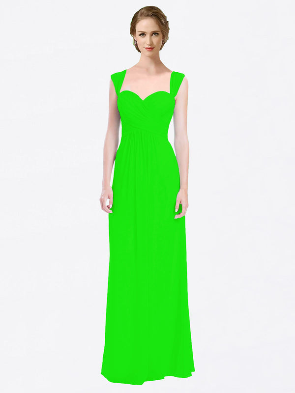 Long A-Line Sweetheart Cap Sleeves Lime Green Chiffon Bridesmaid Dress Patricia