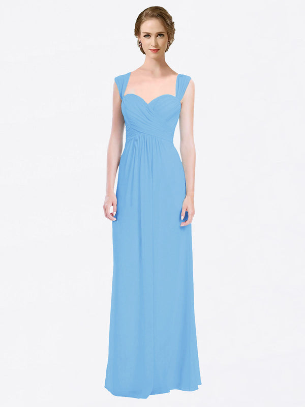 Long A-Line Sweetheart Cap Sleeves Periwinkle Chiffon Bridesmaid Dress Patricia