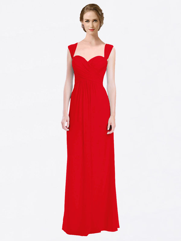 Long A-Line Sweetheart Cap Sleeves Red Chiffon Bridesmaid Dress Patricia