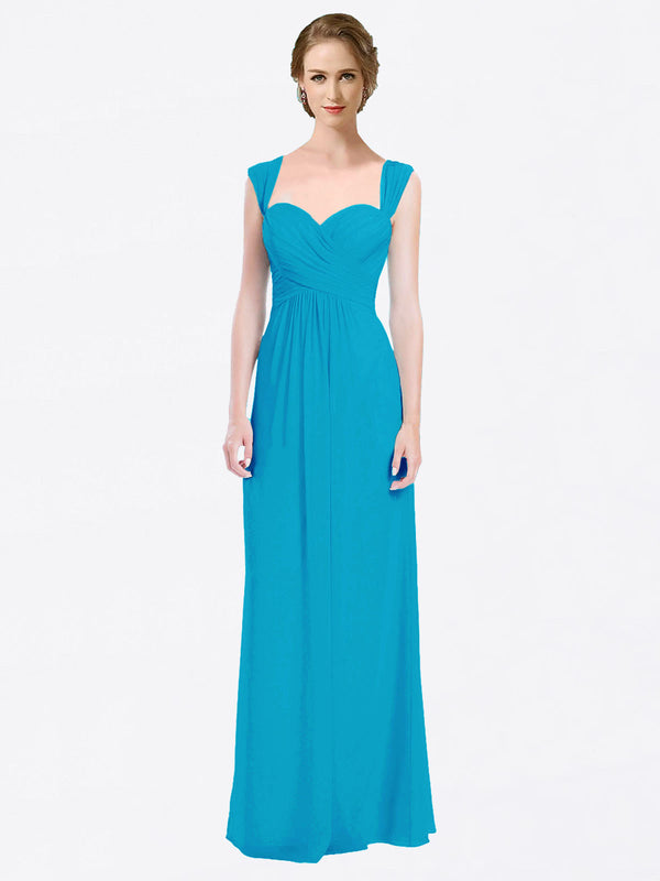 Long A-Line Sweetheart Cap Sleeves Turquoise Chiffon Bridesmaid Dress Patricia
