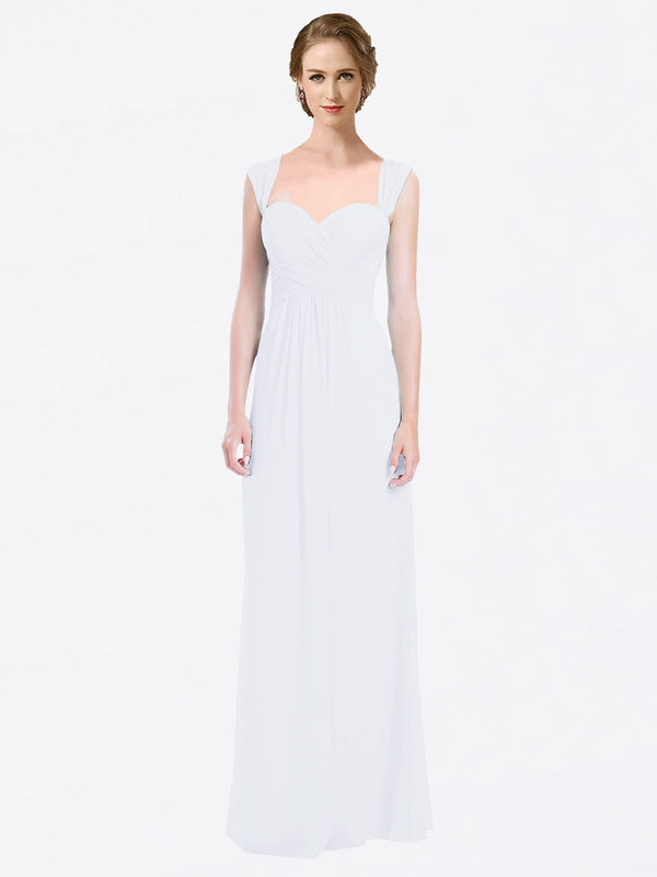 Long A-Line Sweetheart Cap Sleeves White Chiffon Bridesmaid Dress Patricia