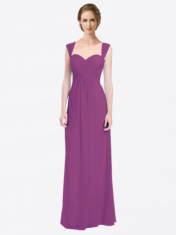 Long A-Line Sweetheart Cap Sleeves Wild Berry Chiffon Bridesmaid Dress Patricia