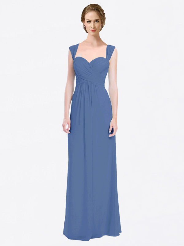 Long A-Line Sweetheart Cap Sleeves Windsor Blue Chiffon Bridesmaid Dress Patricia