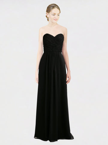 RightBrides Amaris Bridesmaid Dress, Black A-Line Sweetheart, Strapless Floor Length Long Chiffon & Lace Bridesmaid Dress
