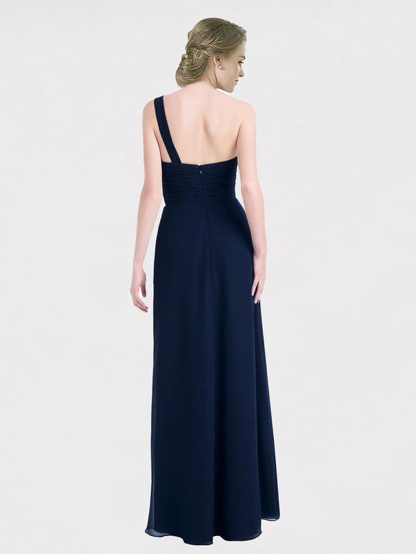 Long A-Line One Shoulder, Sweetheart Sleeveless Dark Navy Chiffon Bridesmaid Dress Hadleigh