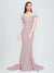 Long Mermaid Off the Shoulder Sweetheart Sweep Train Floor Length Sleeveless Primrose Crepe Bridesmaid Dress Jannet