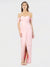 Long A-Line Strapless High Low Off the Shoulder Pink Chiffon Bridesmaid Dress Gladis