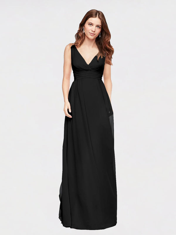 Long A-Line V-Neck  Black Chiffon Bridesmaid Dress Wayne