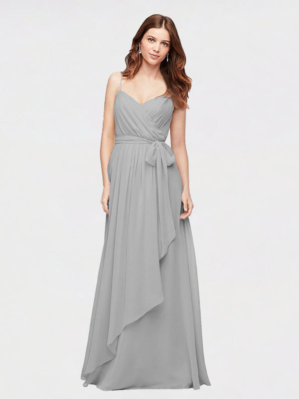 Long A-Line V-Neck  Silver Chiffon Bridesmaid Dress Chaloux