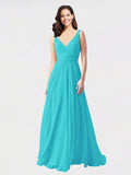 Long A-Line V-Neck Sleeveless Aqua Chiffon Bridesmaid Dress Bernice