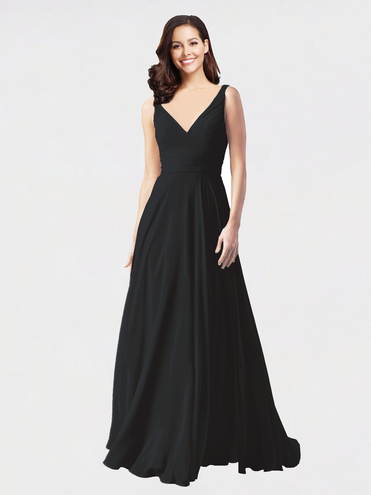 Long A-Line V-Neck Sleeveless Black Chiffon Bridesmaid Dress Bernice