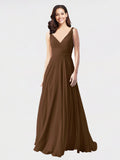 Long A-Line V-Neck Sleeveless Brown Chiffon Bridesmaid Dress Bernice