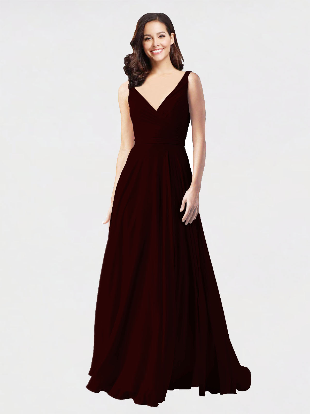 Long A-Line V-Neck Sleeveless Burgundy Gold Chiffon Bridesmaid Dress Bernice