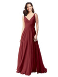 Long A-Line V-Neck Sleeveless Burgundy Chiffon Bridesmaid Dress Bernice