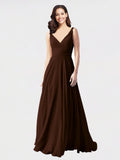 Long A-Line V-Neck Sleeveless Chocolate Chiffon Bridesmaid Dress Bernice