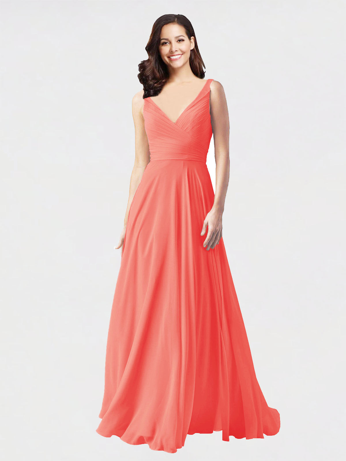 Long A-Line V-Neck Sleeveless Coral Chiffon Bridesmaid Dress Bernice