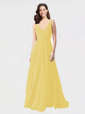 Long A-Line V-Neck Sleeveless Daffodil Chiffon Bridesmaid Dress Bernice