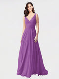 Long A-Line V-Neck Sleeveless Dahlia Chiffon Bridesmaid Dress Bernice