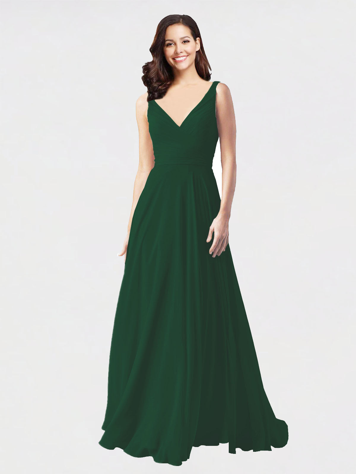 Long A-Line V-Neck Sleeveless Dark Green Chiffon Bridesmaid Dress Bernice