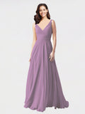 Long A-Line V-Neck Sleeveless Dark Lavender Chiffon Bridesmaid Dress Bernice