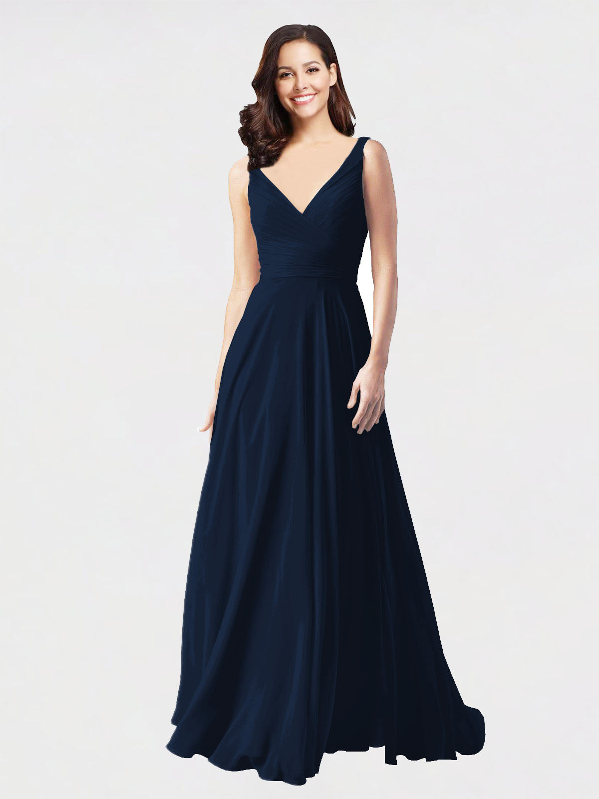 Long A-Line V-Neck Sleeveless Dark Navy Chiffon Bridesmaid Dress Bernice
