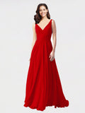 Long A-Line V-Neck Sleeveless Dark Red Chiffon Bridesmaid Dress Bernice