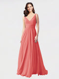 Long A-Line V-Neck Sleeveless Desert Rose Chiffon Bridesmaid Dress Bernice