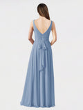 Long A-Line V-Neck Sleeveless Dusty Blue Chiffon Bridesmaid Dress Bernice