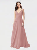 Long A-Line V-Neck Sleeveless Dusty Pink Chiffon Bridesmaid Dress Bernice